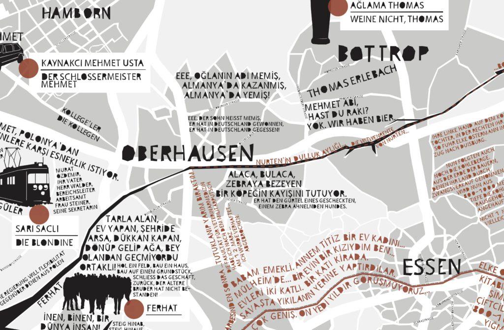 Auf dem Bild ist eine Landkarte im Ruhrgebiet zu sehen. Auf der Karte gibt es viele Texte in Deutscher und Türkischer Sprache.